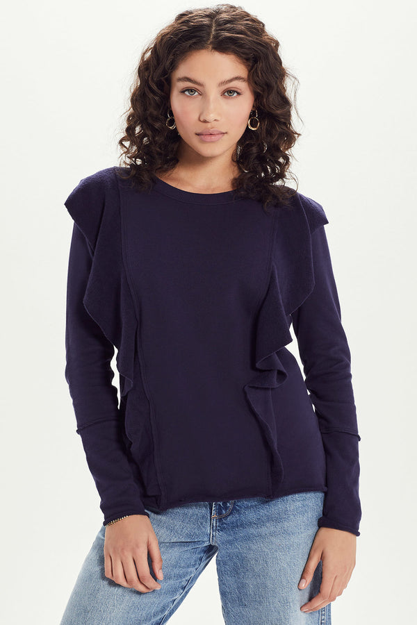 French Terry Double Ruffle Sweatshirt - Goldie