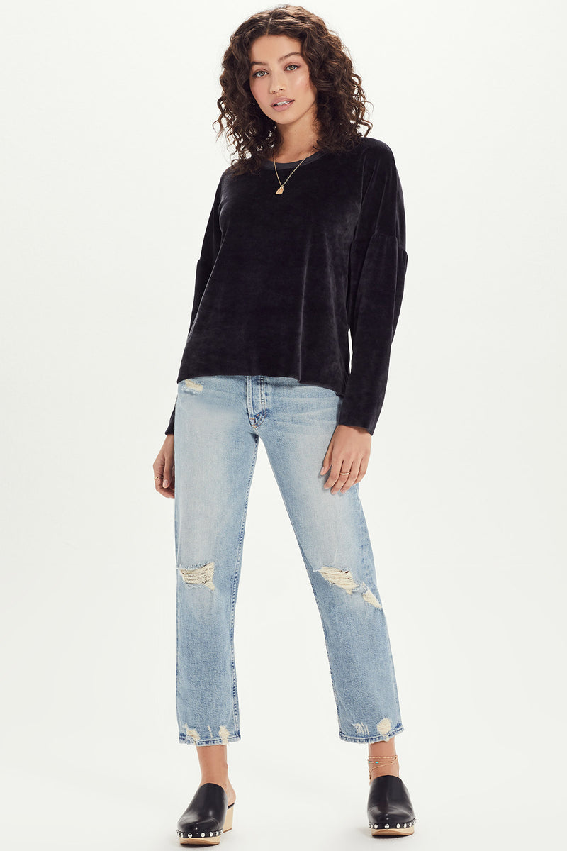 Velour Drop Shoulder Sweatshirt