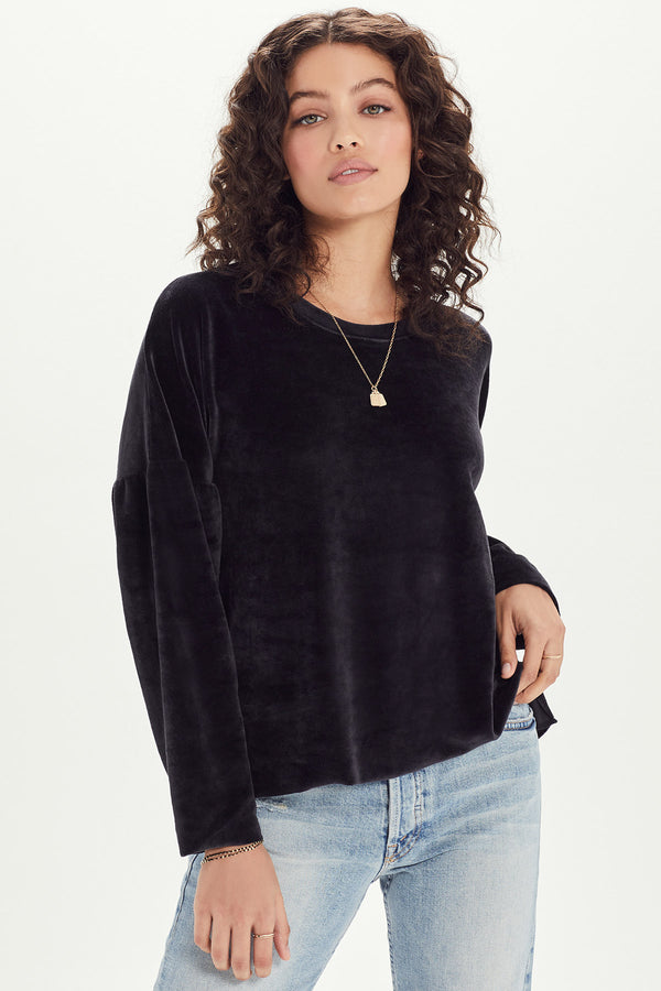 Velour Drop Shoulder Sweatshirt - Goldie