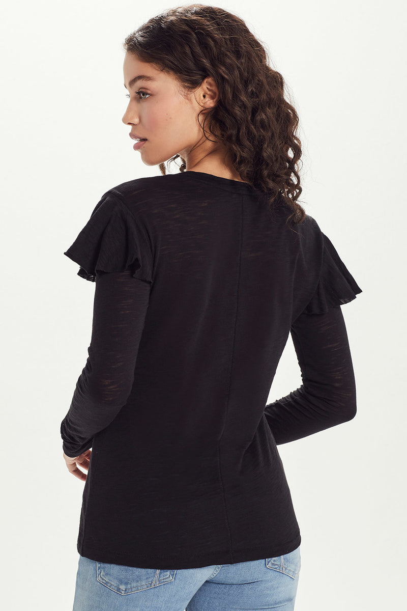 Long Sleeve Ruffle Tee - Goldie