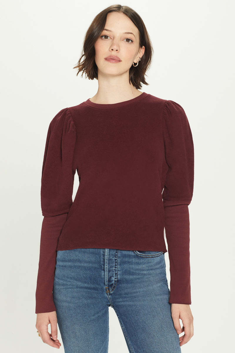 Reverse French Terry Puff Sleeve Sweatshirt - Goldie