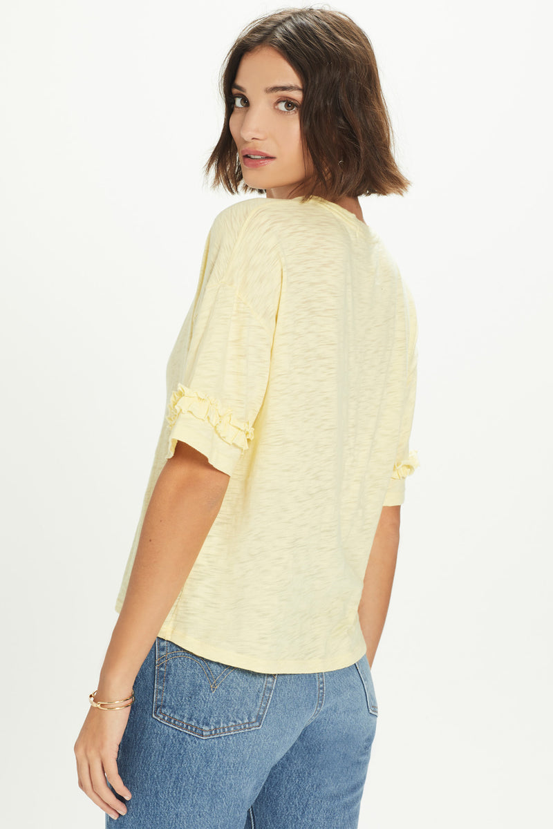 Drop Shoulder Ruffle Tee - Goldie
