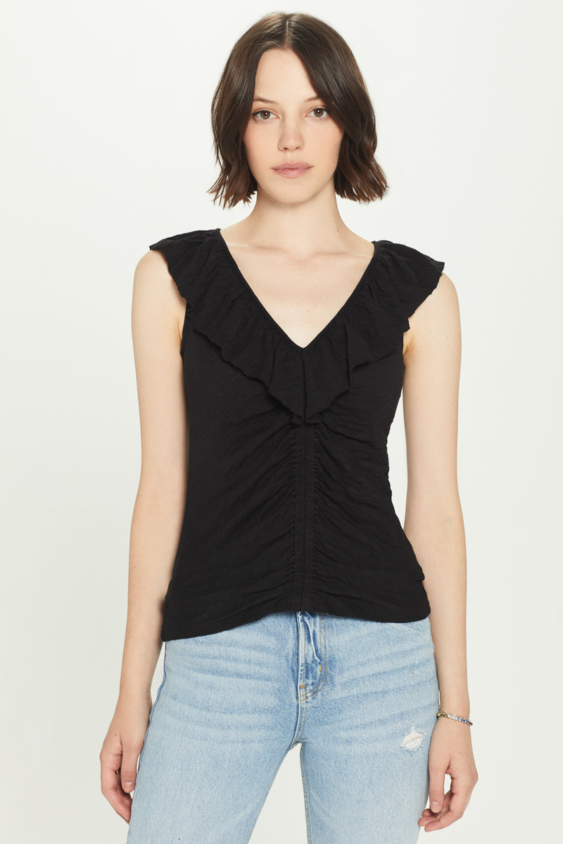 Ruched Ruffle Trim Tank - Goldie