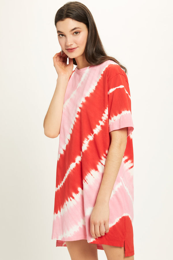 Oversized Two-Tone Cloud Tie Dye Dress - Goldie