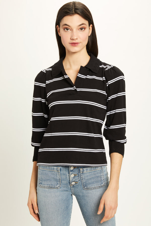 Engineer Stripe Pointelle Puff Sleeve Tee - Goldie