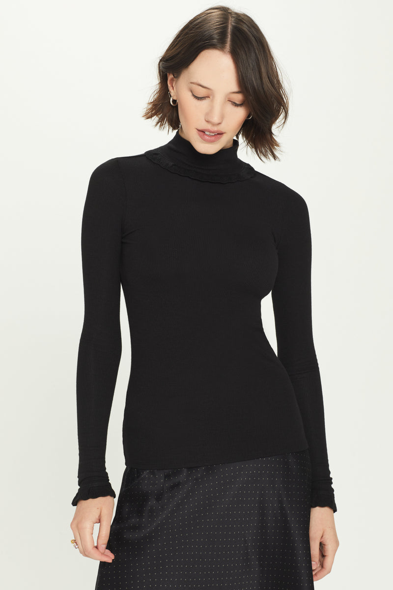 Ribbed Long Sleeve Pointelle Mock Neck Top - Goldie