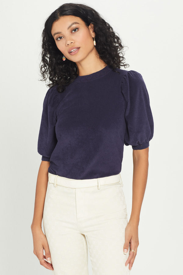 Micro Terry Pointelle Puff Sleeve Top - Goldie