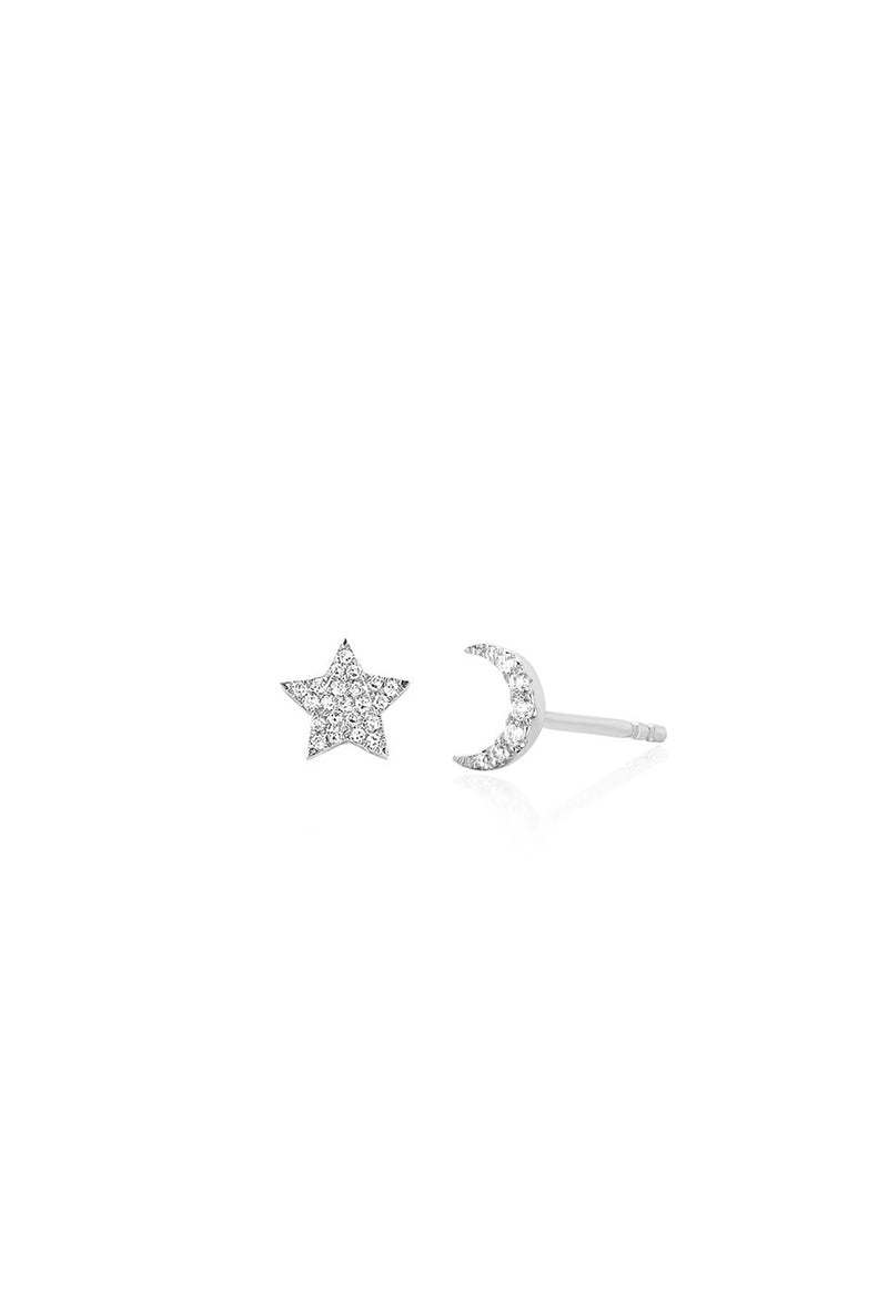 Diamond Mini Moon & Star Stud Earring - Goldie