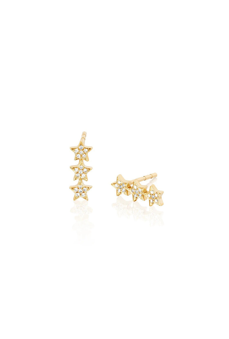 Diamond Triple Mini Star Stud Earring - Goldie