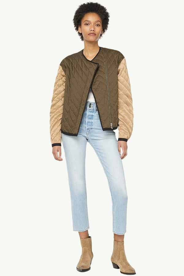 Quilted Colorblocked Jacket - Goldie