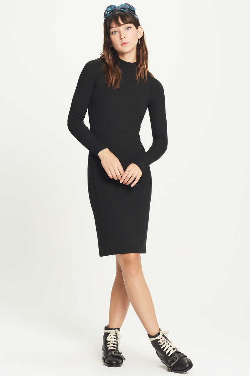 Ribbed Mock Neck Dress - Goldie