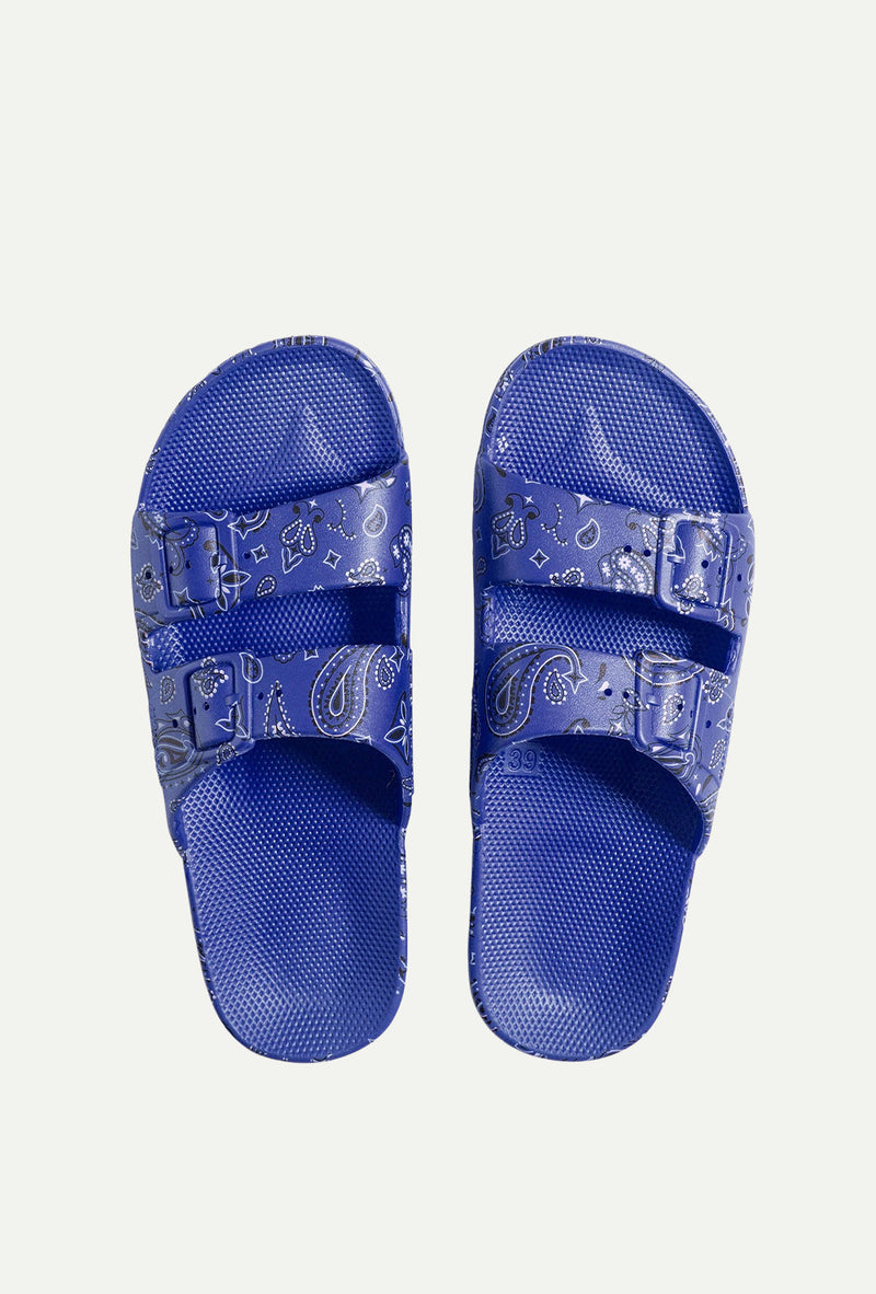 Luca Blue Bandana Slides - Goldie