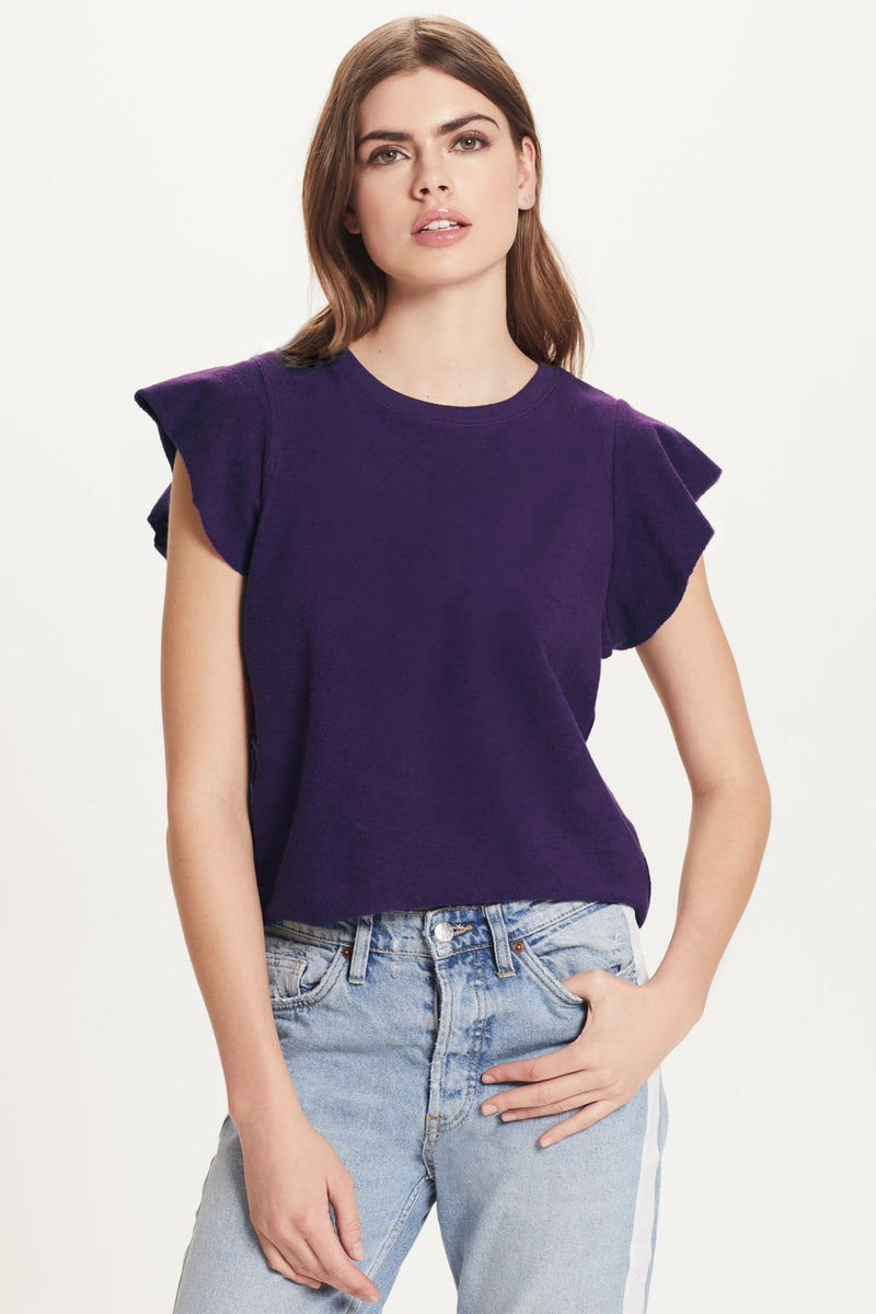 French Terry Sleeveless Ruffle Sweatshirt - Goldie