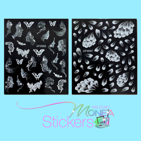 Lady-Butterfly & Flower Petals Nail Stickers ~ 2 Sheets