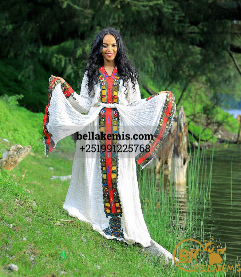 Tesfay Abadi Design Made with Axum Fetli  - Ethiobella Ethiopian Traditional Dresses