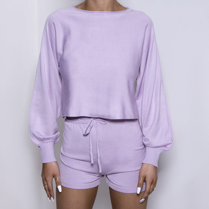 Lounge Knit Bell Sleeve Lilac