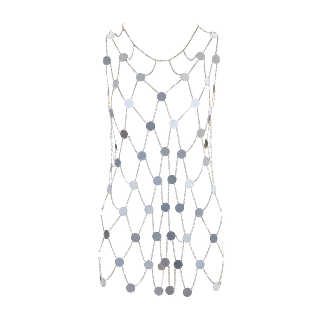 Caught In A Chainnet Mirror Dress Silver