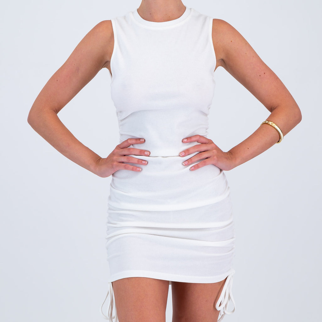 Ribbed Ruche Dress White