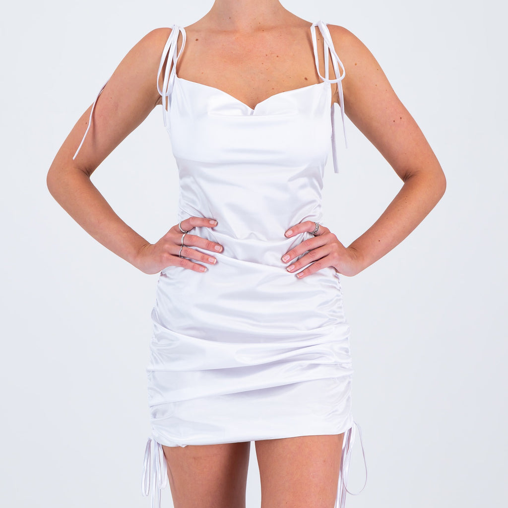 Give A Glam Satin Dress White