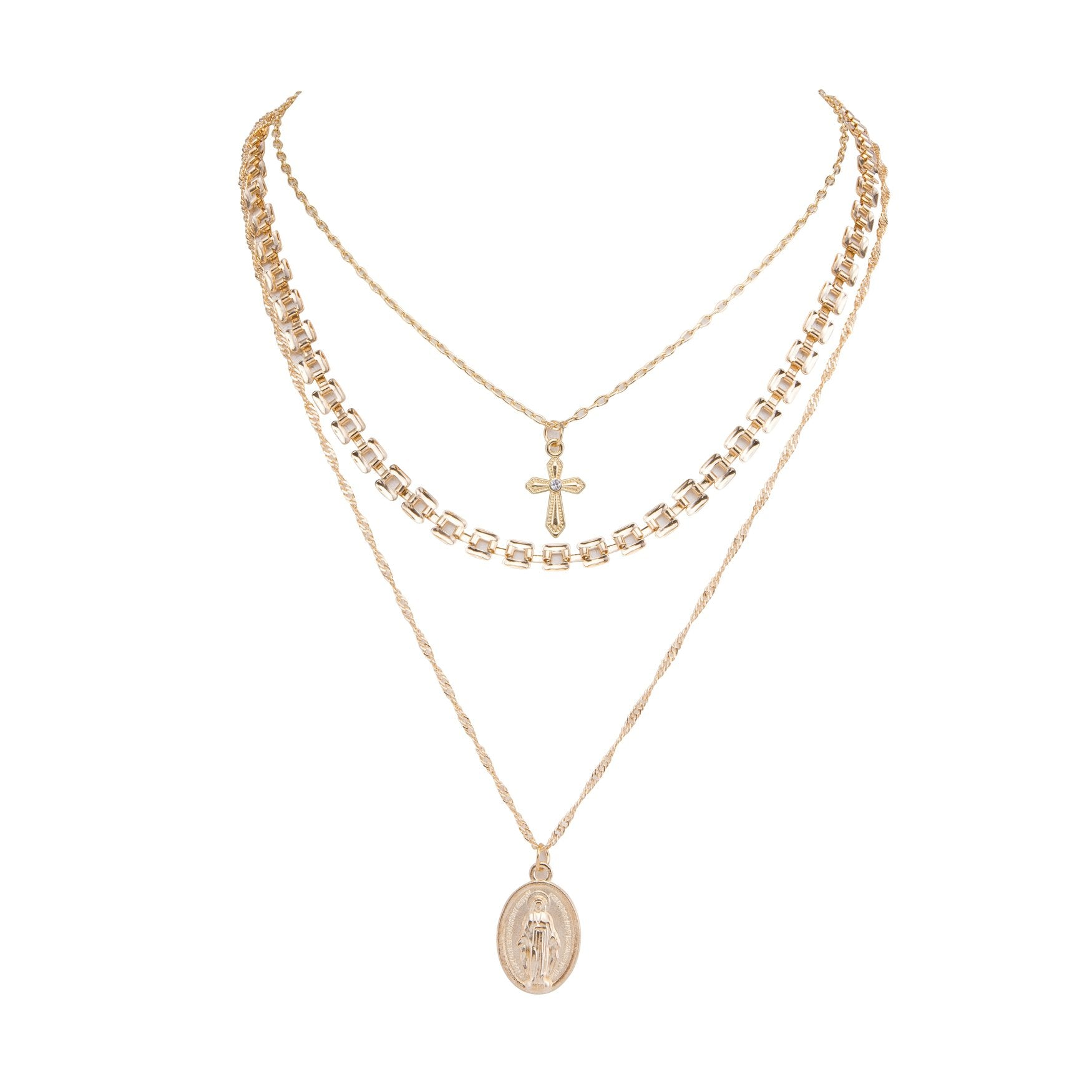 All Saints Layered Necklace Gold
