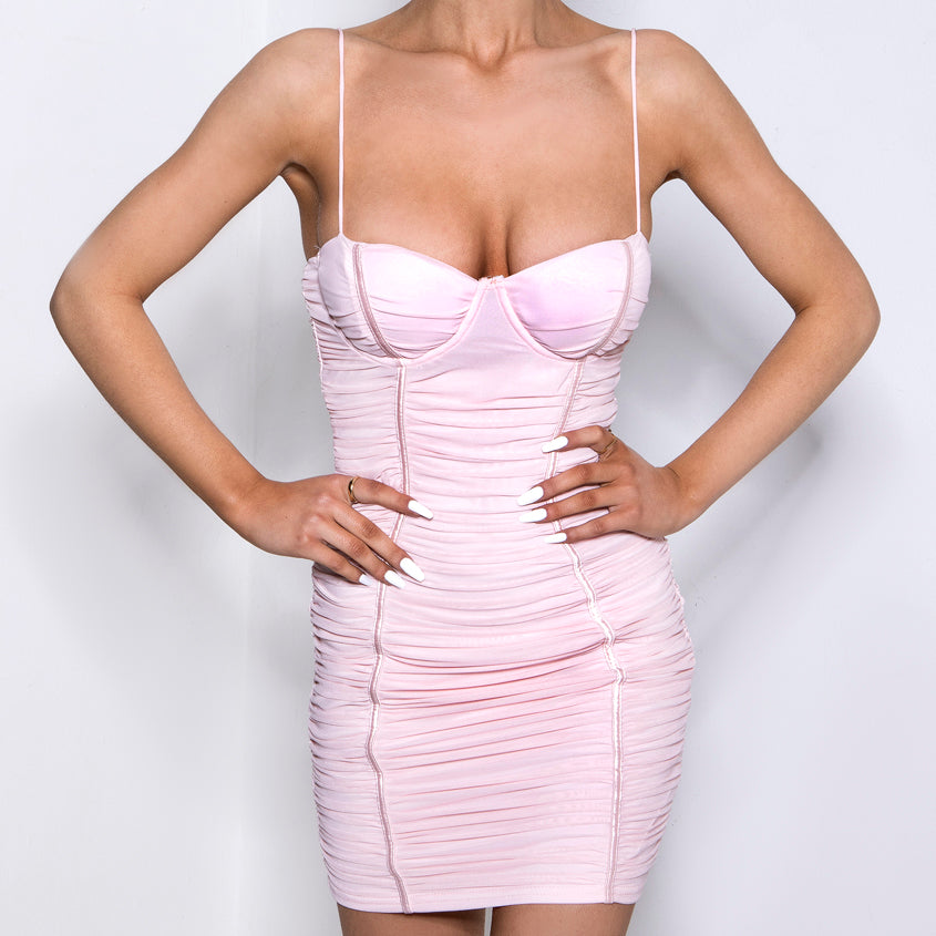 Ruched Bodycon Bustier Dress Pink
