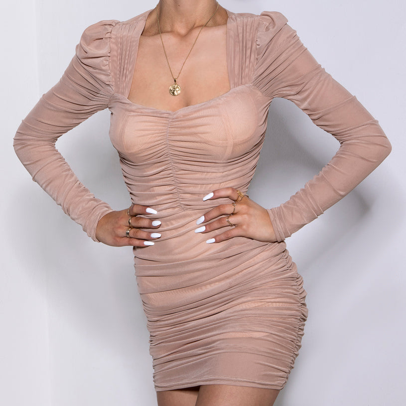 Puff Long Sleeve Mesh Dress Nude