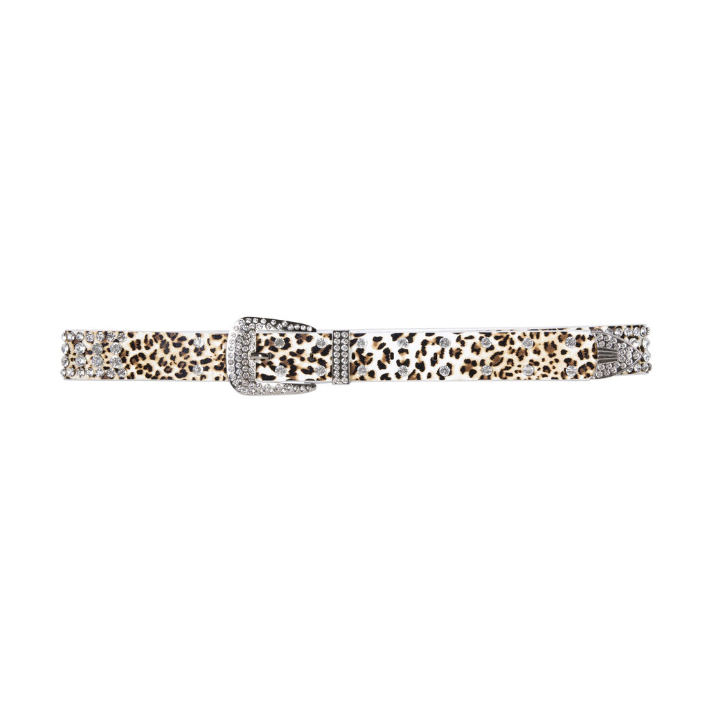 Crystal Studded Belt Leopard