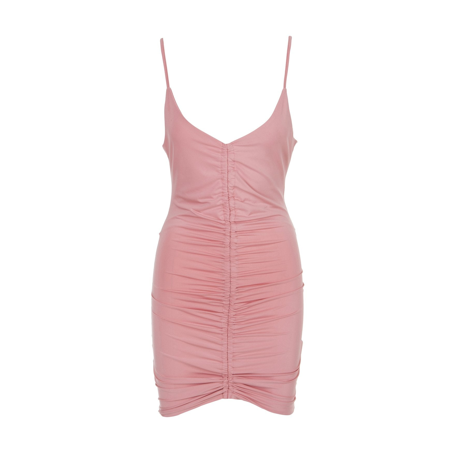 Curves Ahead Front Ruche Dress Pink