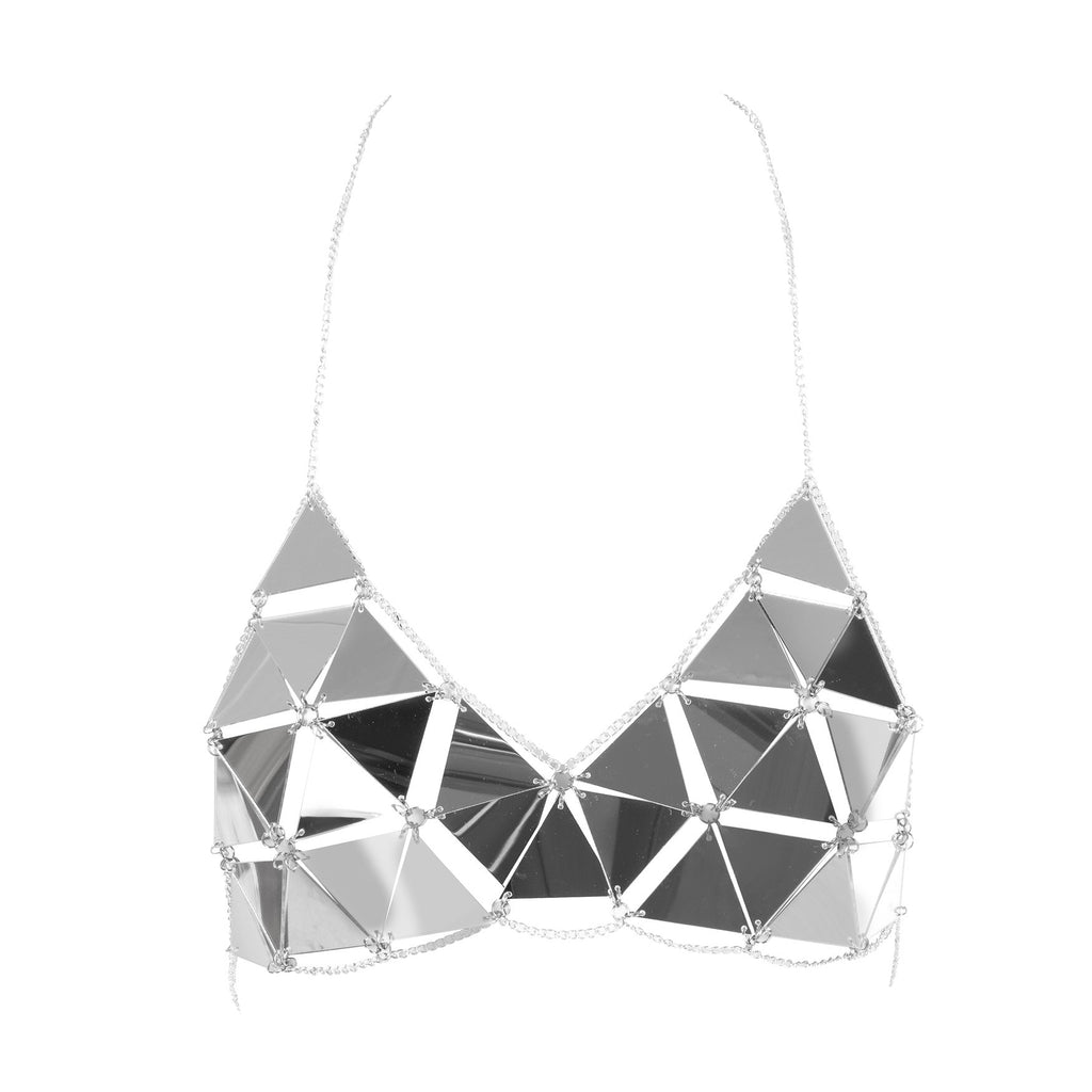 Mirror Mirror Chain Crop Top Silver