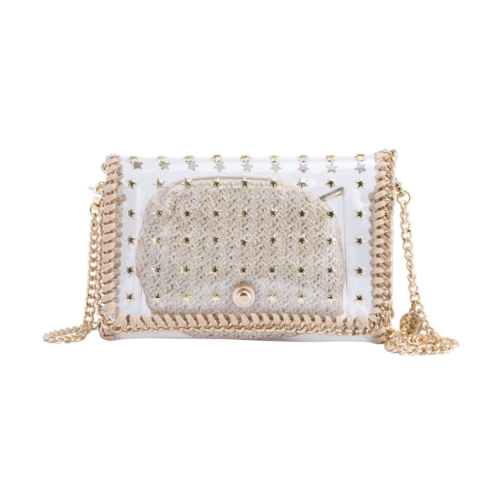 Riviera Star Handbag Clear and Gold