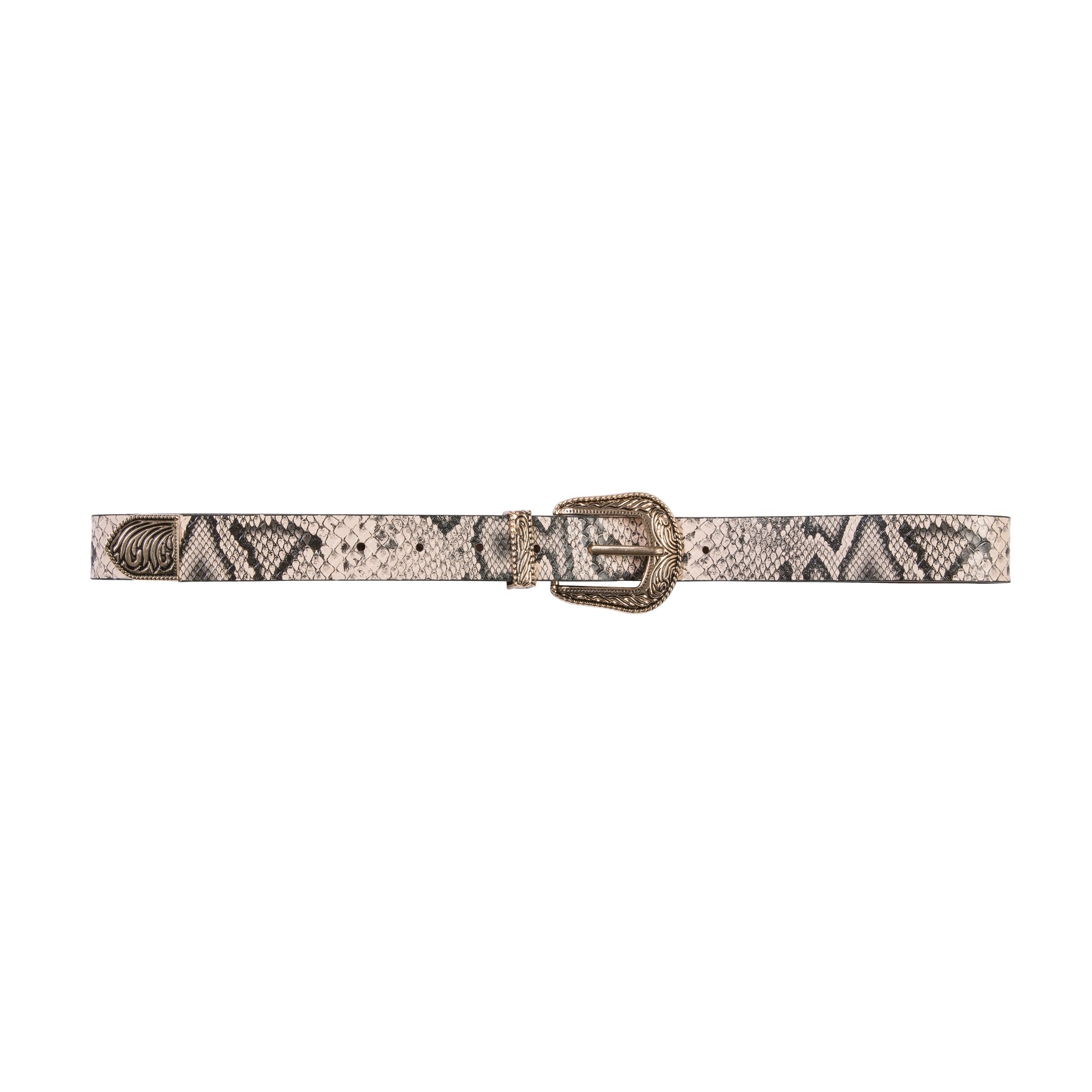 Snake One Out Belt Black & Beige