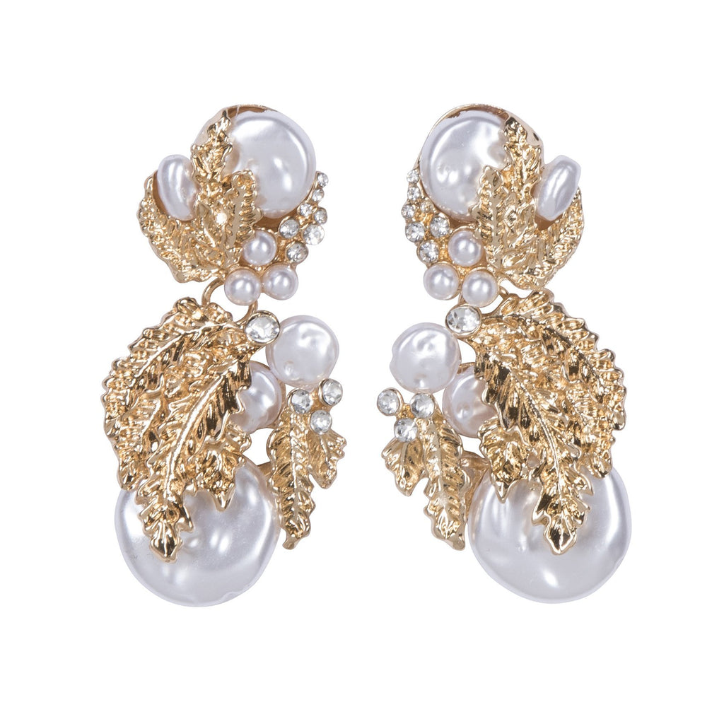 Stepford Earrings Gold & White