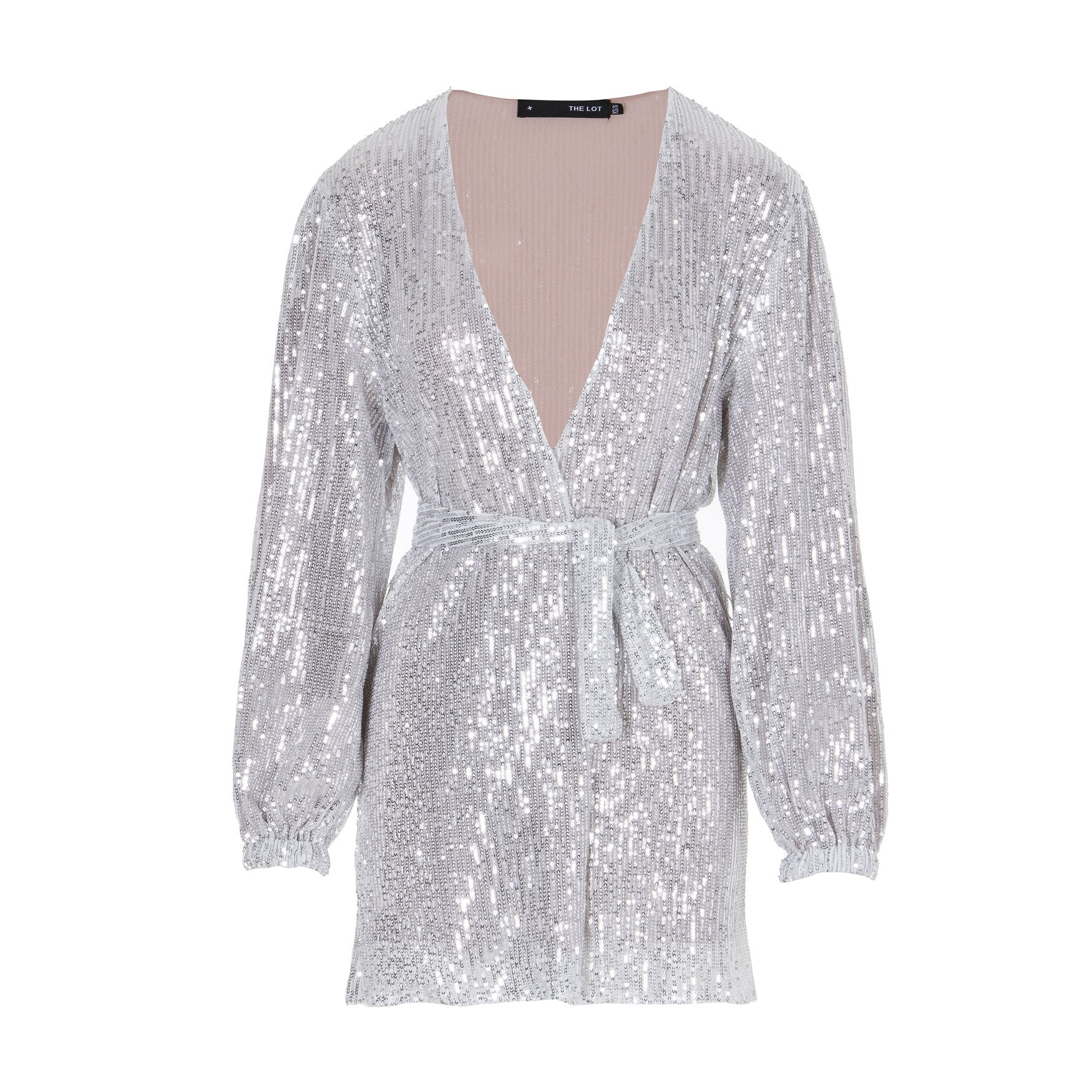Talk Of The Town Sequinned Robe Dress Silver