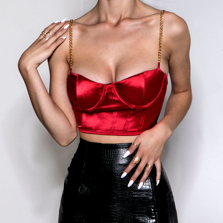 Satin Chain Bustier Red