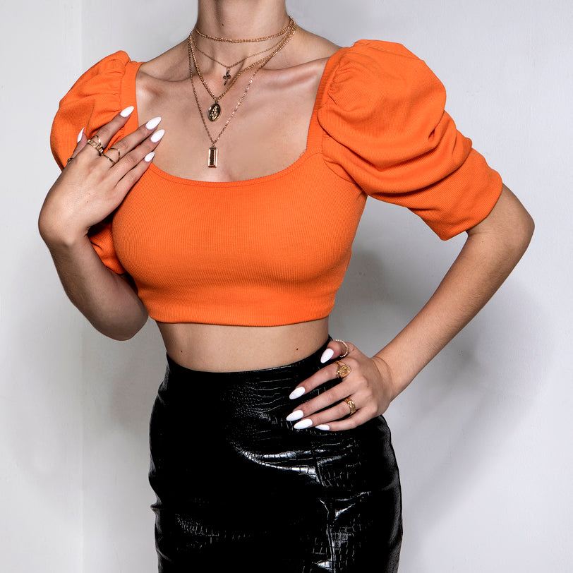 We Like It Puff Crop Top Orange