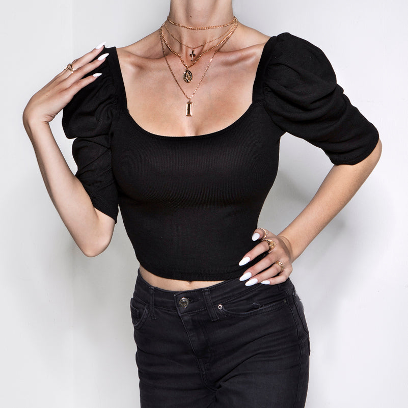 We Like It Puff Crop Top Black