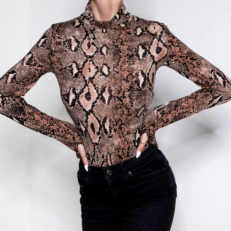 Shedding Skin Bodysuit Snakeprint Brown
