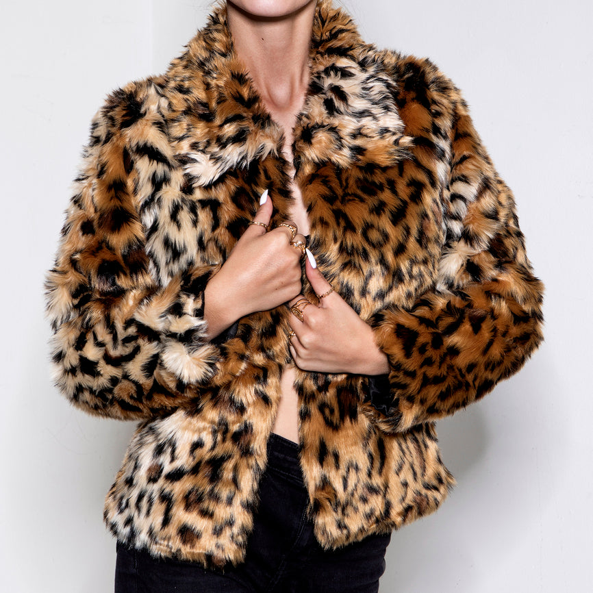 The Cat Is Out The Bag Faux Fur Jacket Leo Brown