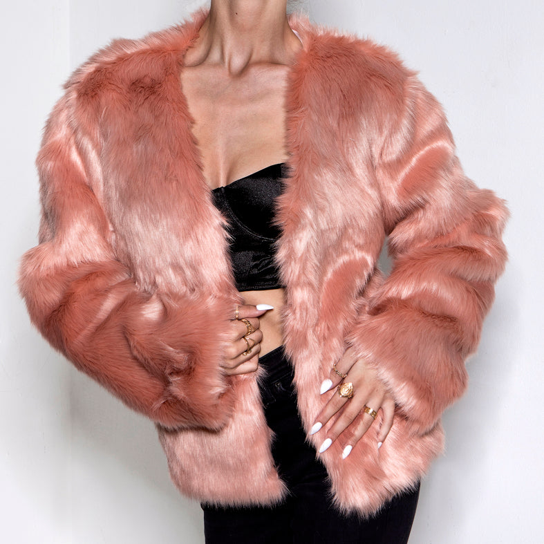 Love Rushed In Faux Fur Jacket Blush Pink