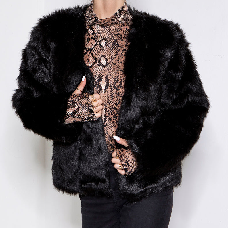 Love Rushed In Faux Fur Jacket Black