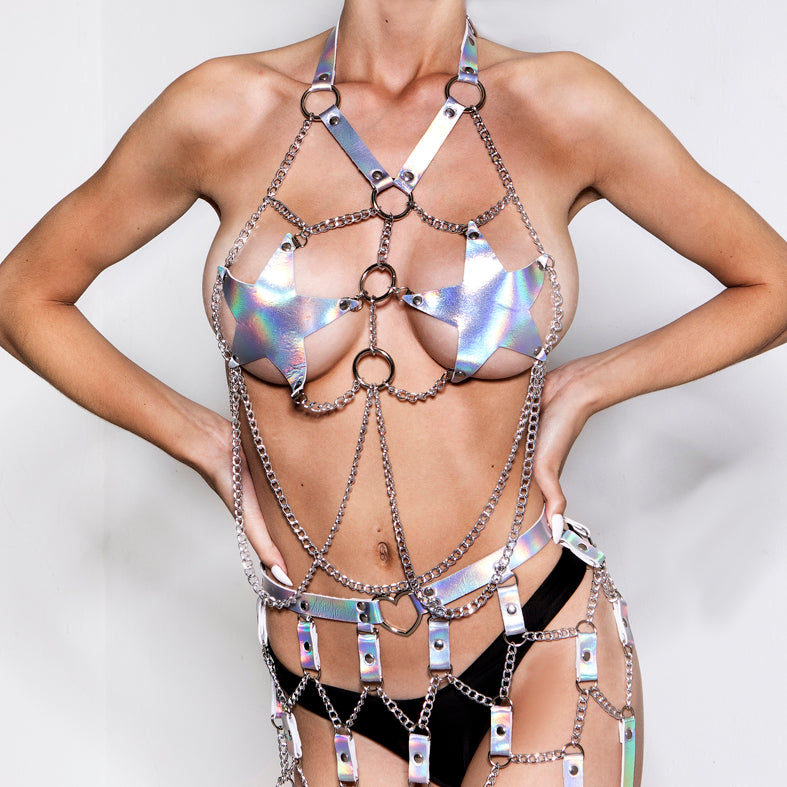 Space Girl Star Harness Top Silver