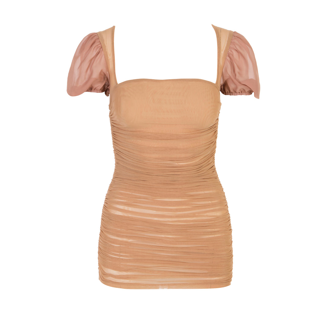 Fair And Square Ruched Mesh Dress Nude