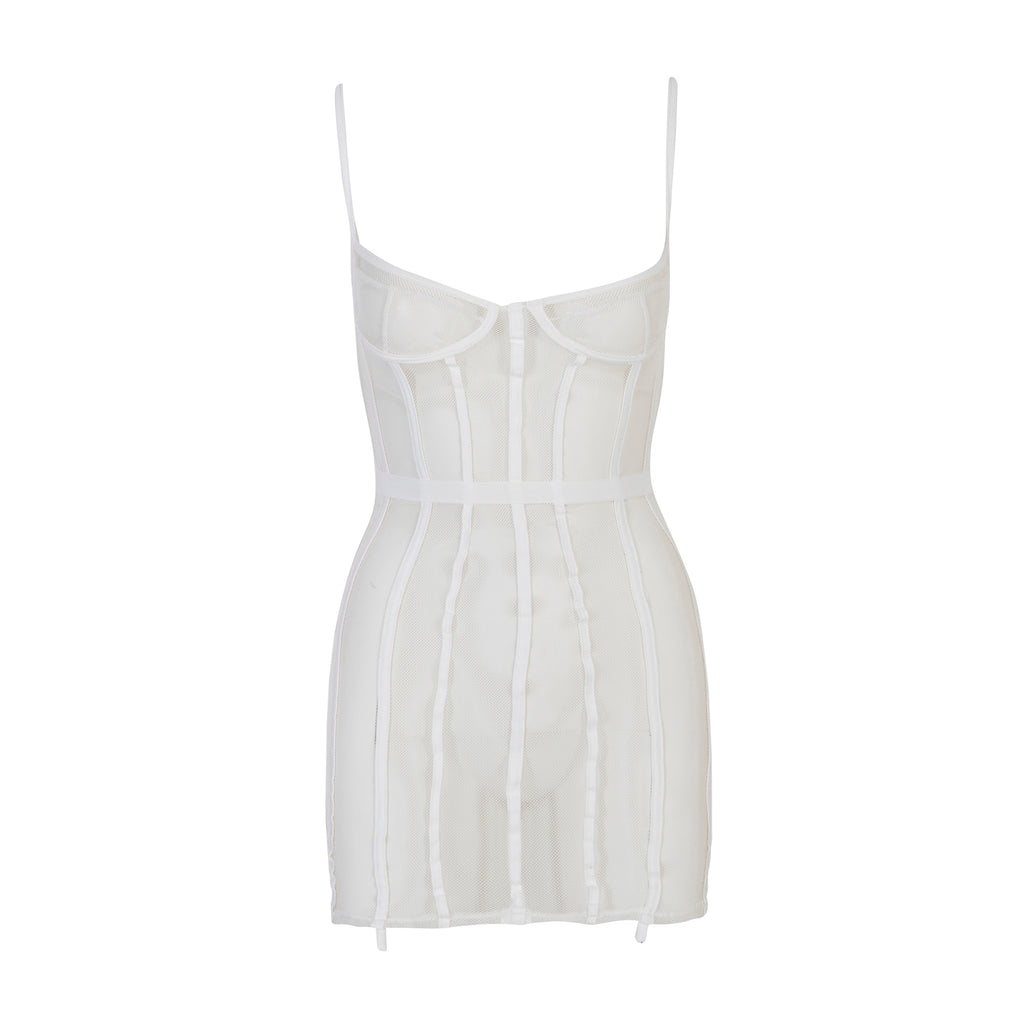 Caged Mesh Corset Dress White