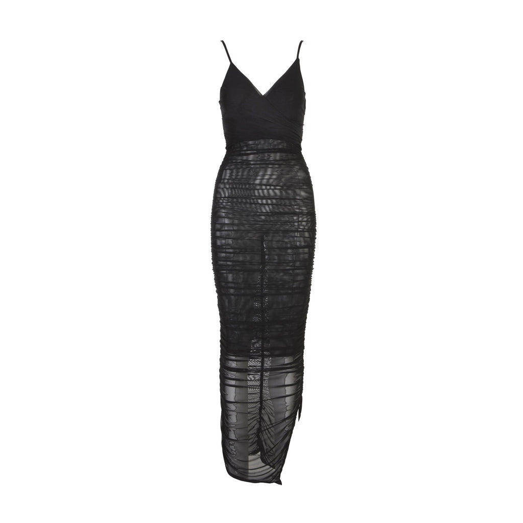 Luxe Mesh Ruched Maxi Dress Black