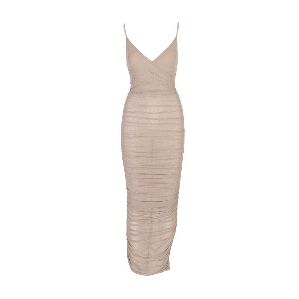 Luxe Mesh Ruched Maxi Dress Nude