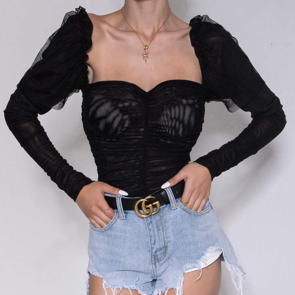 Puff Sleeve Ruched Bodysuit Black
