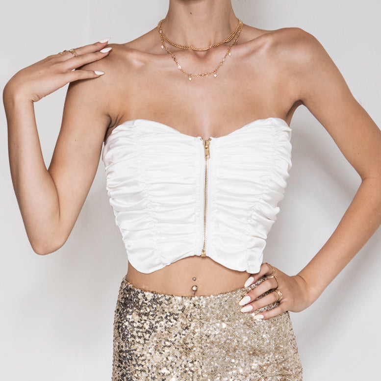 Ruched In Bustier White
