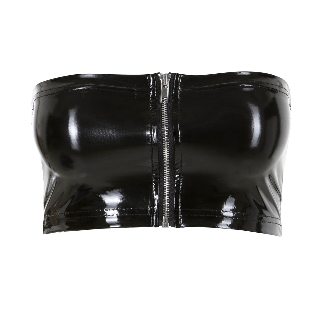 Zip Up Vinyl Bustier Black
