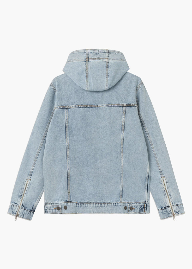 Hooded Denim Jacket Light Blue