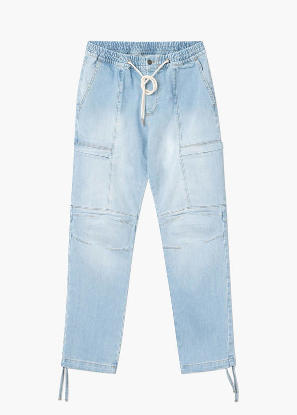 Tactical Cargo Denim Light Blue Wash